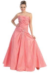 Home gt pretty pink taffeta floor length strapless prom dress jsld0371