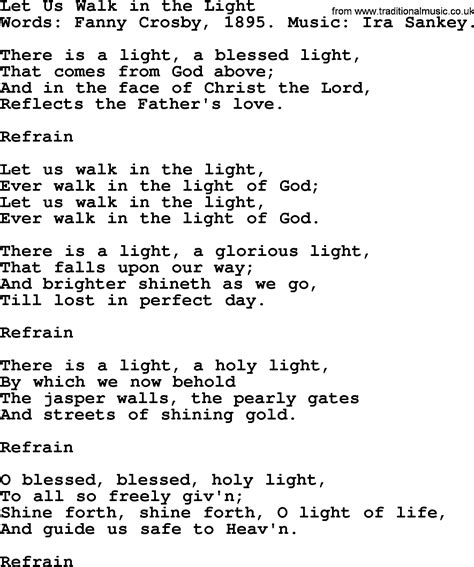 The Lord Is Light Lyrics by Let Us Walk In The Light By Crosby Hymn Lyrics