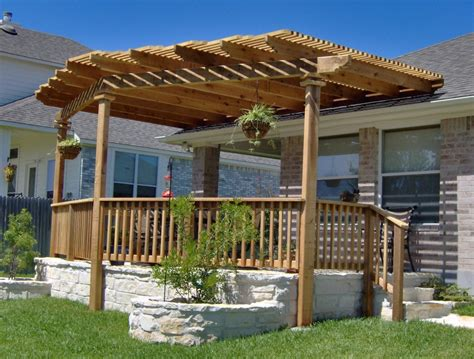 Ideas Design For Attached Pergola Exterior Backyard Patio Pergola Ideas Design With Wooden Rail Half Fencing On White Like
