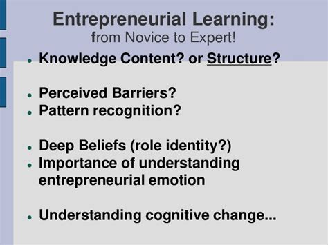 pattern recognition entrepreneurship the experiential essence of entrepreneurial learning