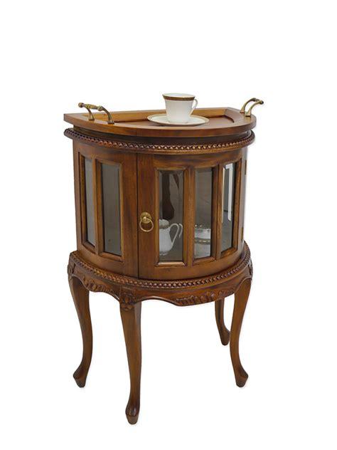 schrank halbrund teeschrank barschrank vitrine antik stil massivholz