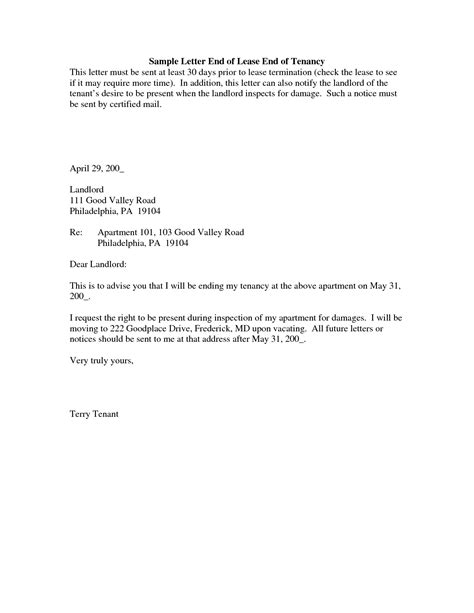 End Of Lease Letter Template Sle Apartment Lease Termination Letter Theapartment