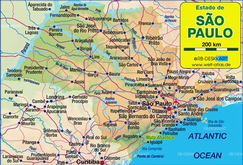 sao paulo state map map of sao paulo state brazil map in the atlas of the