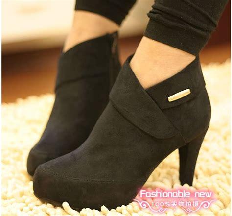 high heels bootie black zipper side suede shoes