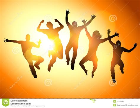 sun l for people jumping young adults stock vector image of group summer