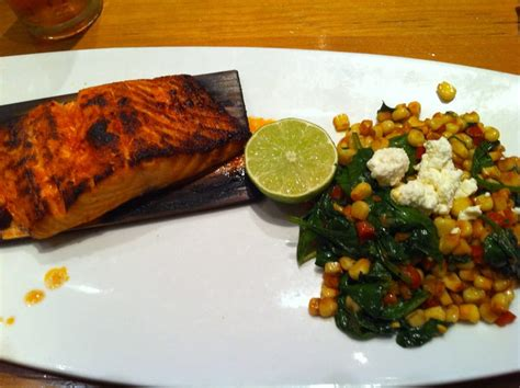 table pizza monterey cedar plank salmon with corn and spinach succotash yelp