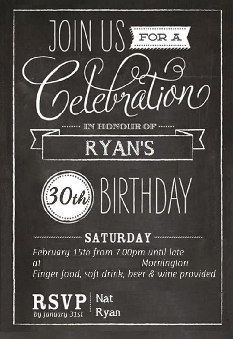 free 30th birthday invitations templates drevio