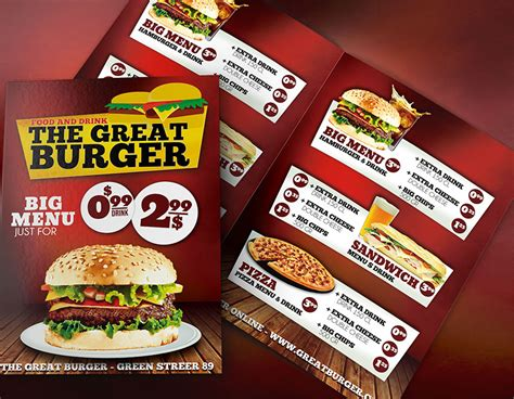 burger fast food menu template psd download psd