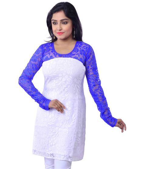 kurta pattern with net riiti designs white net round neck woven plain kurti buy