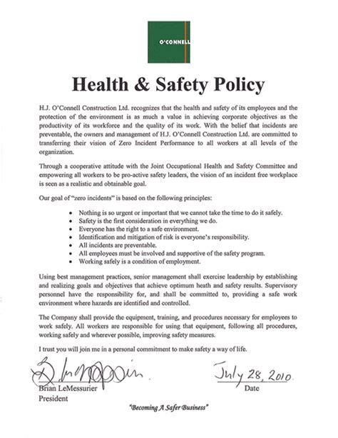 health and safety policy hjoc h j o connell construction limited safety policy