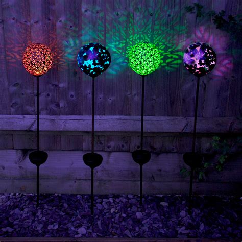garden stake lights solar powered large bronze effect butterfly globe stake light pack of 2 smart garden