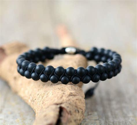 Handmade Cord Bracelets - bracelet matte onyx black cord shamballa bracelet