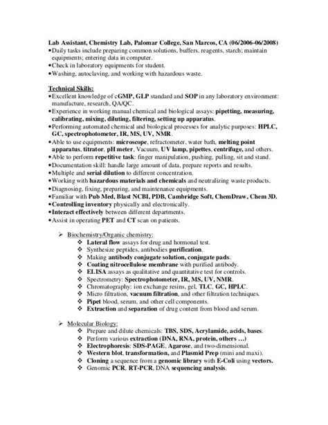 Test Technician Sle Resume by Resume Lab Technician Sales Technician Lewesmr
