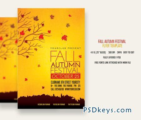 Fall Autumn Festival Flyer 83073 187 Free Download Photoshop Vector Stock Image Via Torrent Fall Flyer Template
