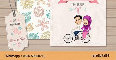 cara membuat kartu undangan digital undangan pernikahan konsep karikatur unik rajadigital99