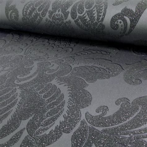 grey patterned glitter wallpaper arthouse glisten damask pattern floral metallic glitter