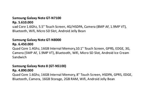 Harga Samsung Tab Note 8 Gt N5100 daftar harga samsung galaxy tab terbaru dan spesifikasi
