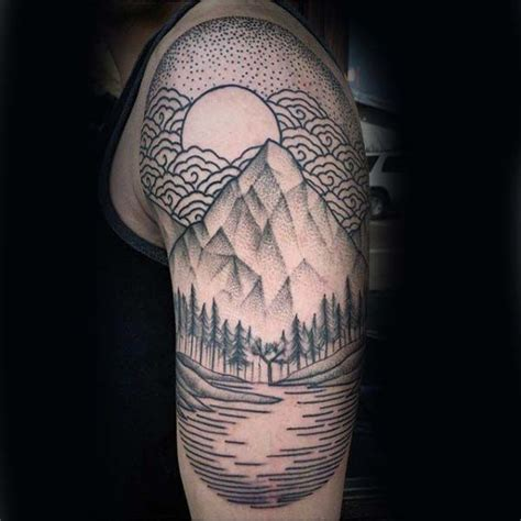 quarter sleeve mountain tattoo forest with mountain mens woodcut half sleeve tatto design