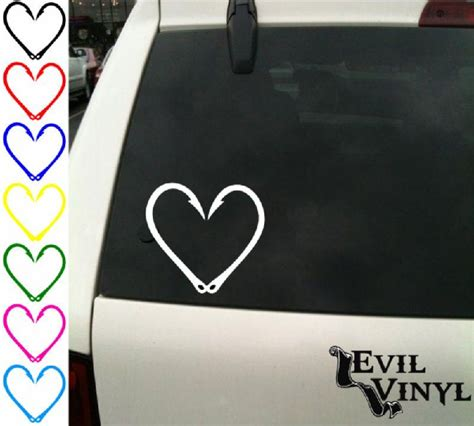 hunting decals car window stickers decal junky fishing hook heart decal car window hunting deer outdoors