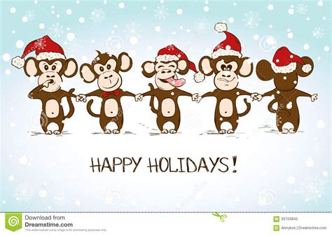 new year monkey ecard new year card with monkey holding stock