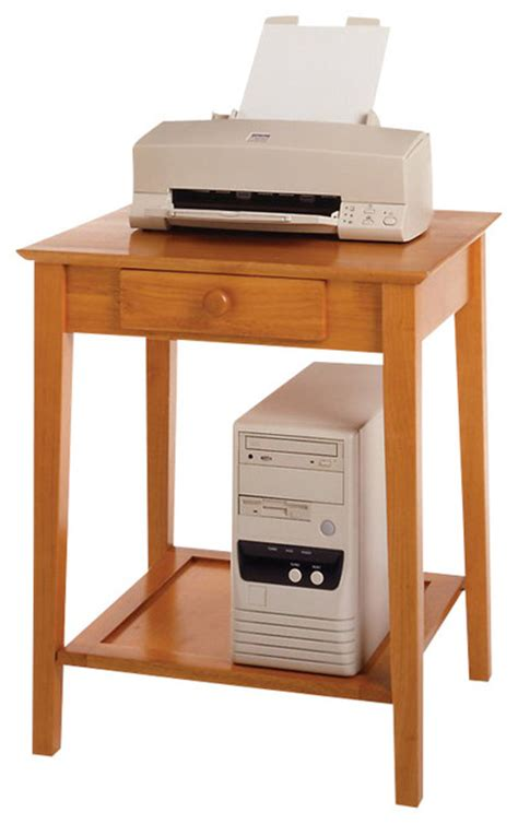 desk side printer stand winsome solid wood printer stand end table in honey