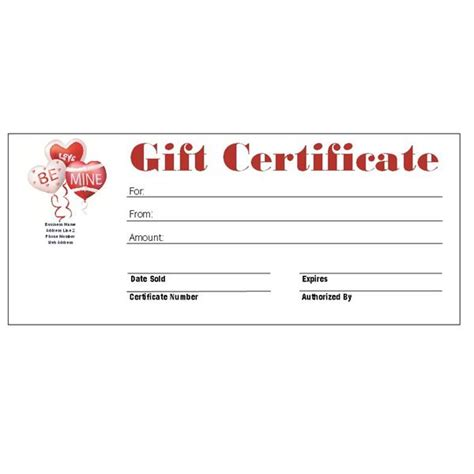 Valentine Gift Card Templates - 6 free printable gift certificate templates for ms publisher