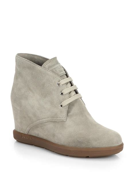 prada suede wedge ankle boots in gray light grey lyst
