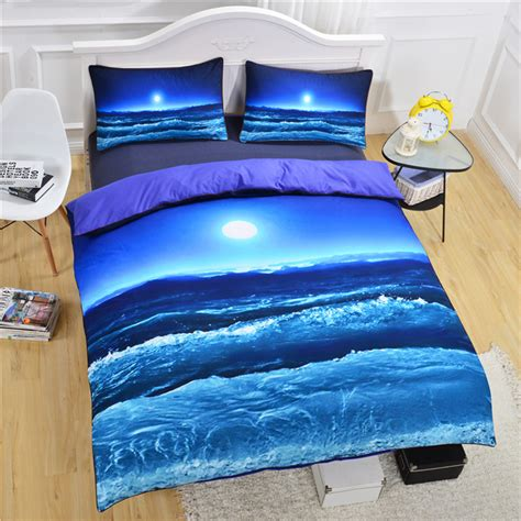 beach bed set moon and ocean sea sky beach duvet cover set with