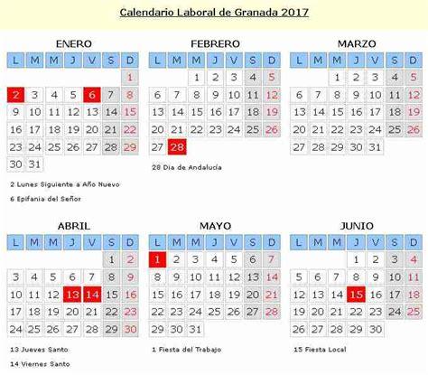 Calendario Oficial 2017 Laboral Calendario Laboral Granada 2016