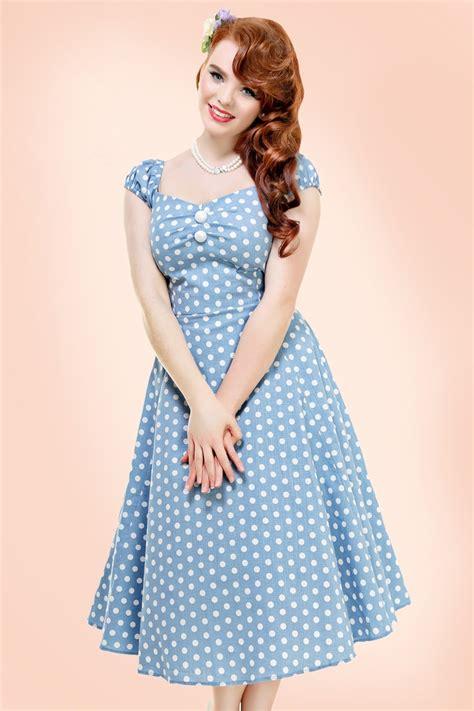 Baju Retro Polkadot 50s dolores polkadot doll swing dress in dusky blue and white