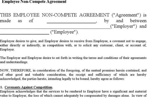 standard non compete agreement template agreement template free premium templates