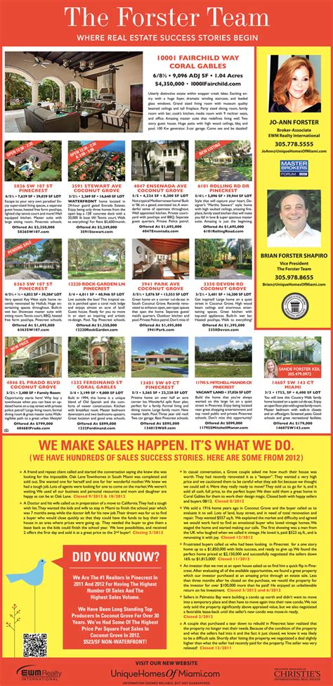 miami herald weekend section the forster team keeping your informed on your local market