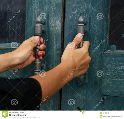 Holding Door by Hold Door Handle Royalty Free Stock Images Image