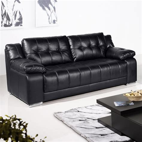 Black Leather Sofas Newham Black Leather Sofa Collection