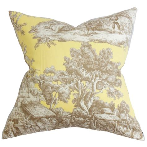 Toile Throw Pillows by The Pillow Collection Evlia Toile Cotton Throw Pillow