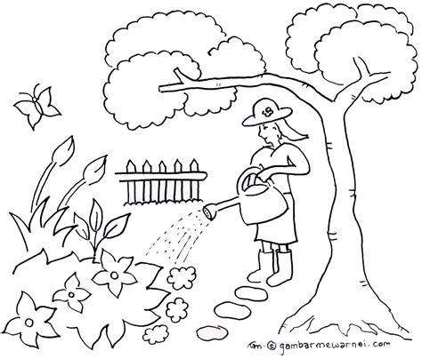 doodle pohon mewarnai taman bunga iman