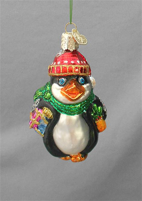 old world christmas glass ornament perky penguin in x