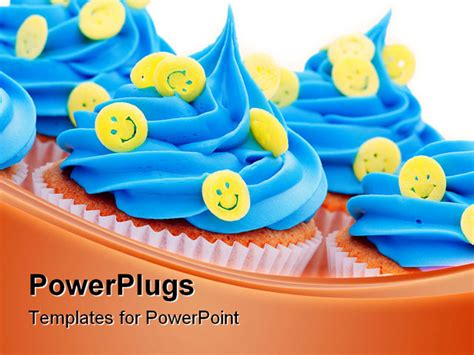 Powerpoint Template Lots Of Queen Cup Cakes With Blue Icing And Yellow Smiley Faces 8841 Cupcake Powerpoint Template