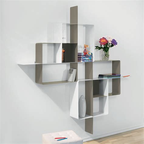 librerie in acciaio libreria scaffalatura mondrian 5 in acciaio tortora bianco