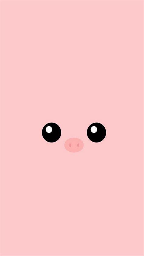 minimal pink piggy cute eyes iphone wallpapers