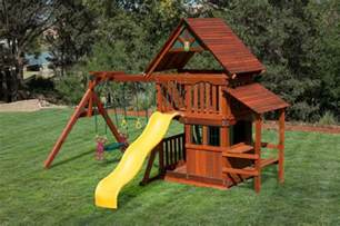 Backyard Discovery Reviews by Wooden Swing Set Playhouse At Discount Prices In