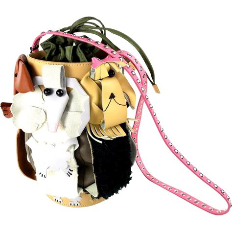 purse dogs purse michael simon mutts leather barrel bag sold on ruby