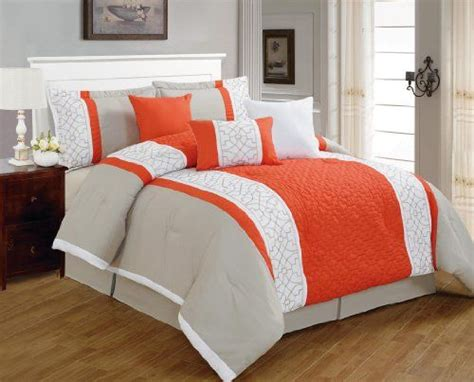 orange comforter queen 7 pieces luxury coral orange grey and white quilted linen