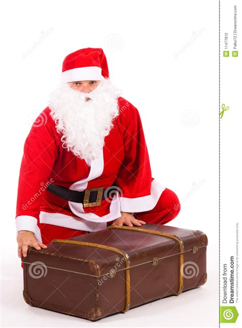 santa claus   big suitcase stock photography image