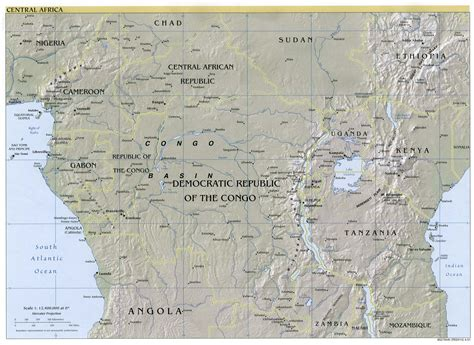 physical map of central africa central africa physical map 2001 size