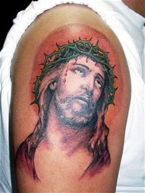 tattoo shoulder jesus unhappy jesus tattoo on shoulder