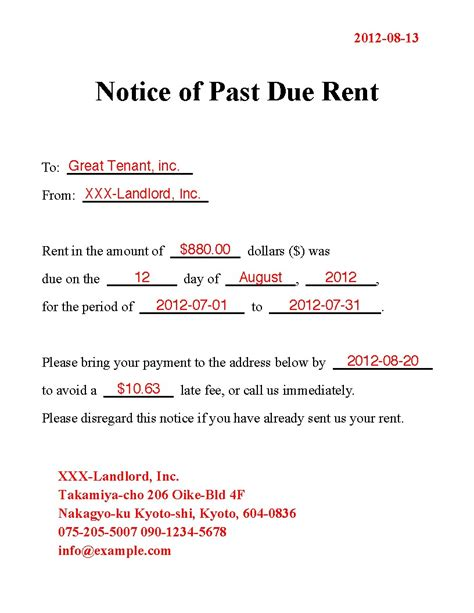 past due letter template fresh template rent letter template past