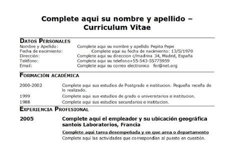 Plantilla Curriculum Vitae Para Rellenar Excel cv para rellenar 18 plantillas de curriculum para rellenar