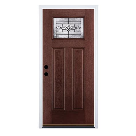Exterior Doors | shop therma tru benchmark doors wickerpark right hand inswing dark mahogany stained fiberglass