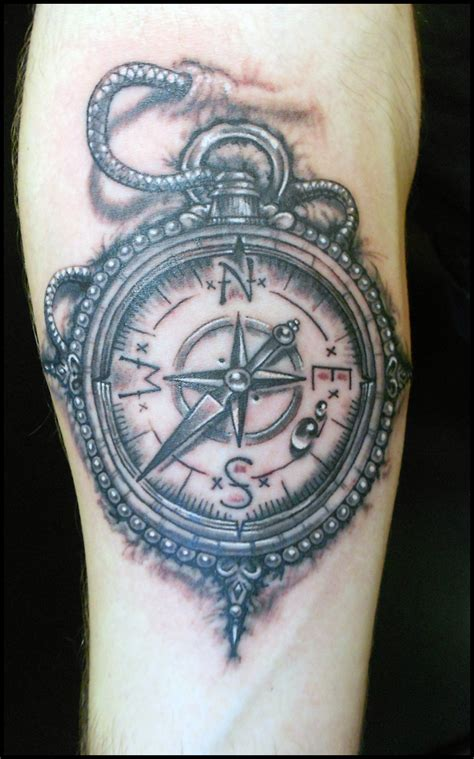 black and grey compass tattoo marc tice owner and tattoo artist 13thhourtattoos com